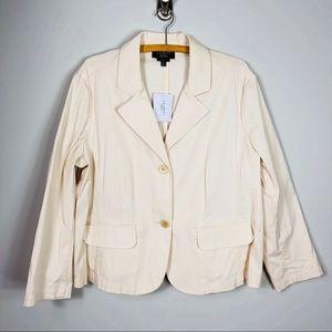 Talbots Cream Blazer Cotton Jacket 18 Women's P